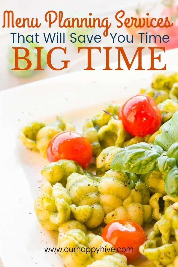 Close up of Pesto Pasta with text - Menu Planning Services that will save you time, big time