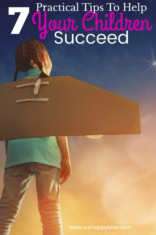 Young Girl with airplane wings cut out of cardbord attached to her back and text 7 practical tips to help your children succeed.