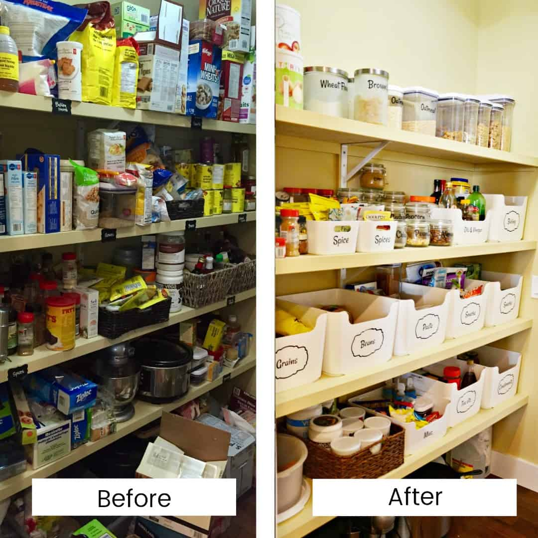 Before and After shots of a disorganized then organized pantry