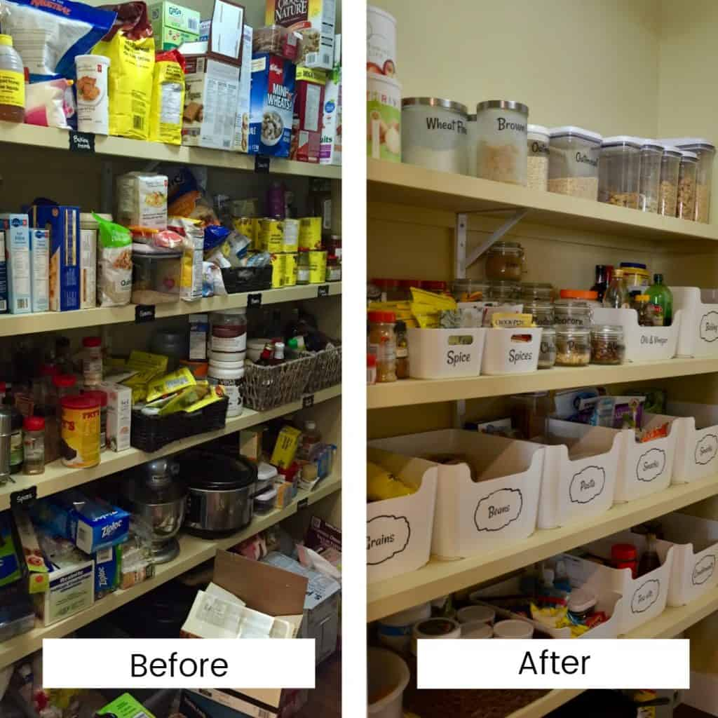 Before and after photos of organizing a pantry