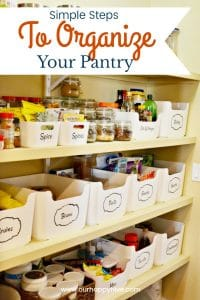 Organized Pantry with text - Simple Steps To Organize Your Pantry , www.ourhappyhive.com