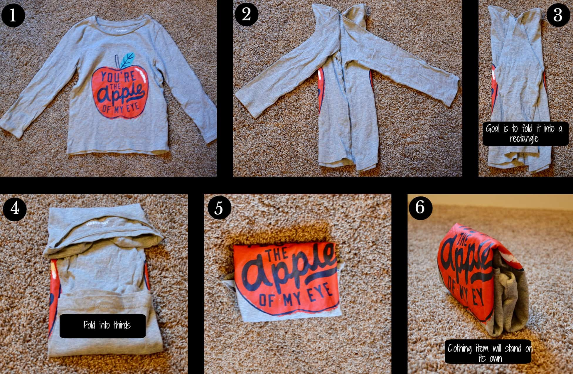 Step by step picture of how to fold a tshirt using the vertical filing procecc.