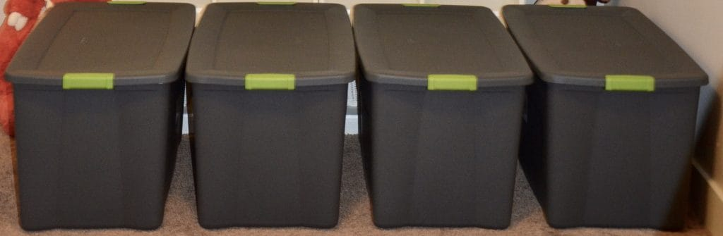 4 large grey storage bins