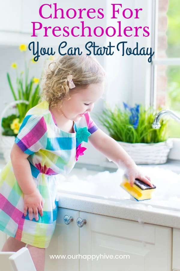 Preschooler standing at sink washing dishes with text Chores for Preschoolers You Can Start Today