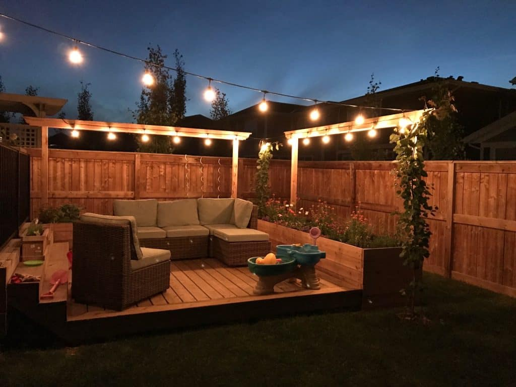 Scenic backyard with string lights