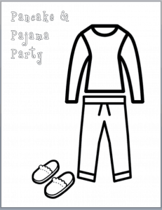 Coloring page with pajams guests can decorate