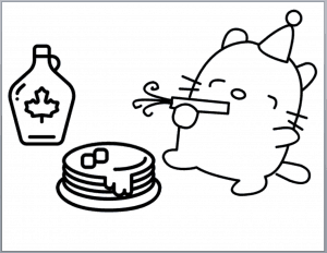 Coloring page printable with cat, pancake, and syrup