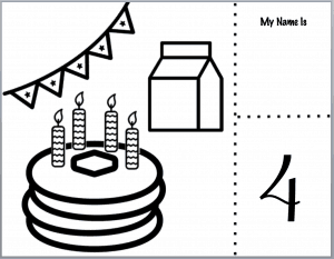 Coloring page printable with pancake, banner, milk, and space for guests name