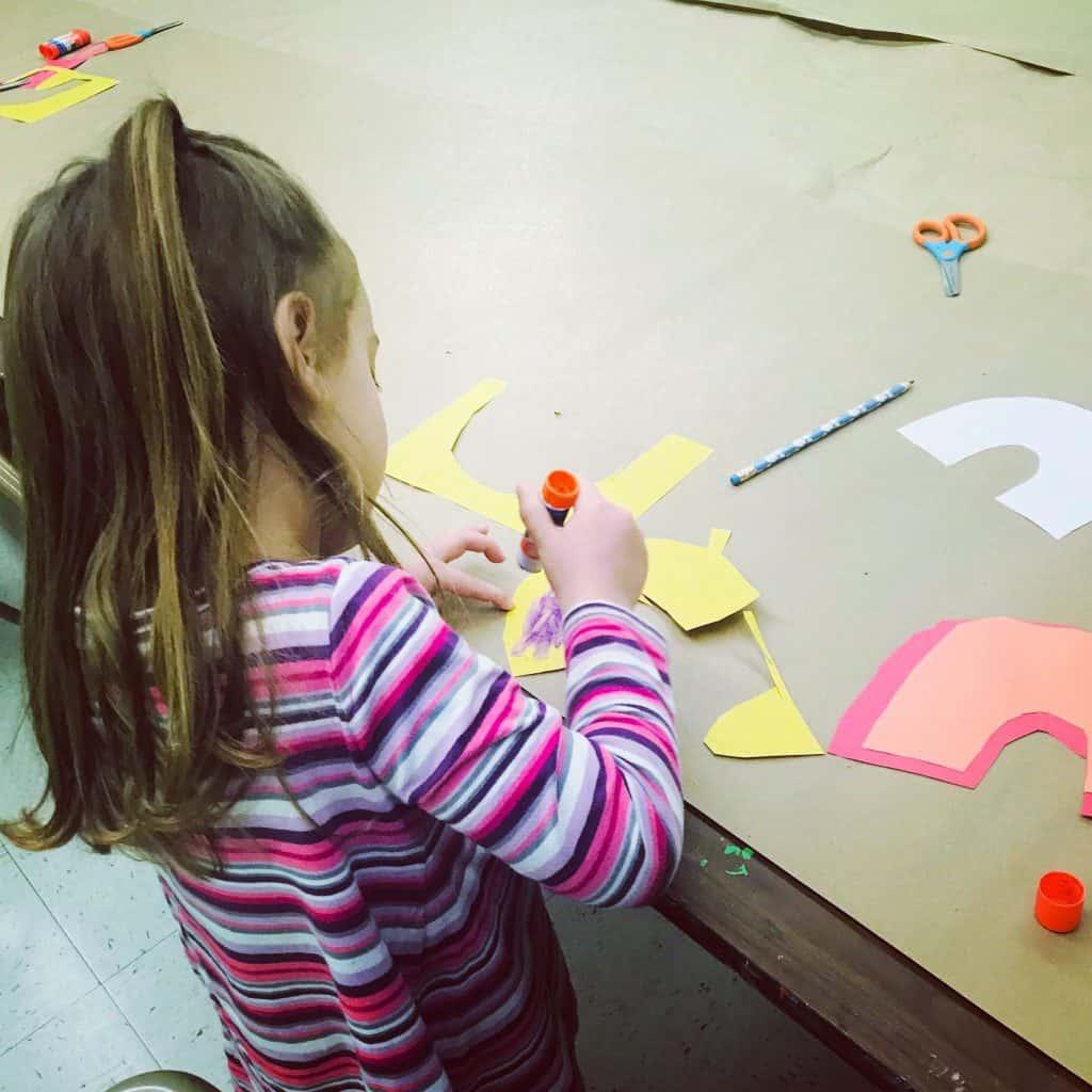 Preschooler doing crafts