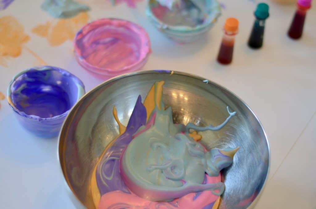 metal bowl with excess puffy paint