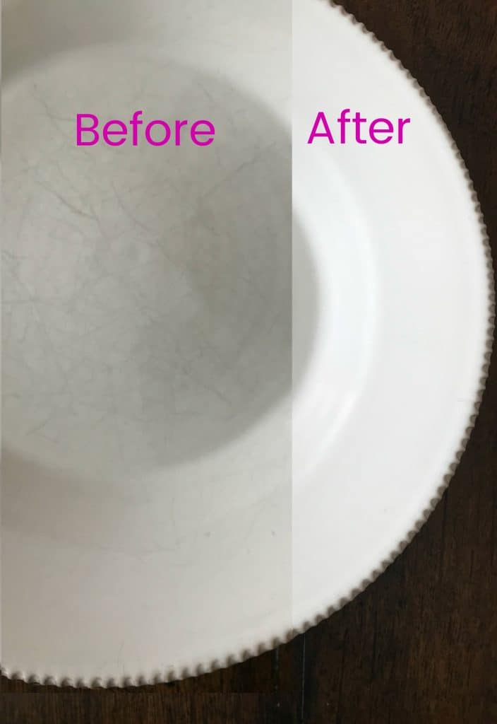 Before and After picture of a scratched plate