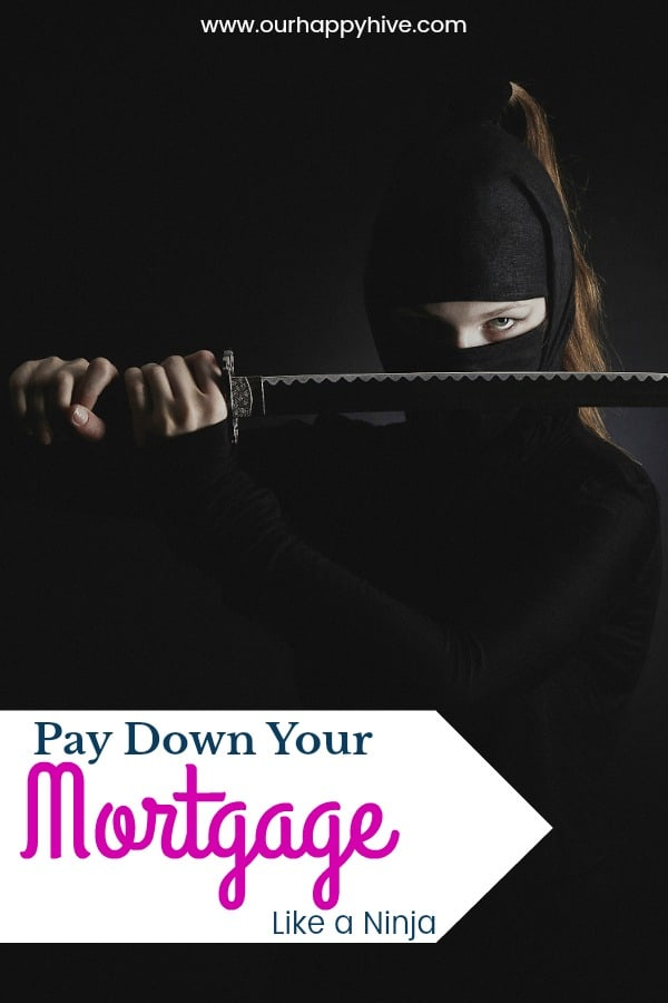 Female ninja with a sword in front of her face with Text - Pay Down Your Mortgage Like A Ninja
