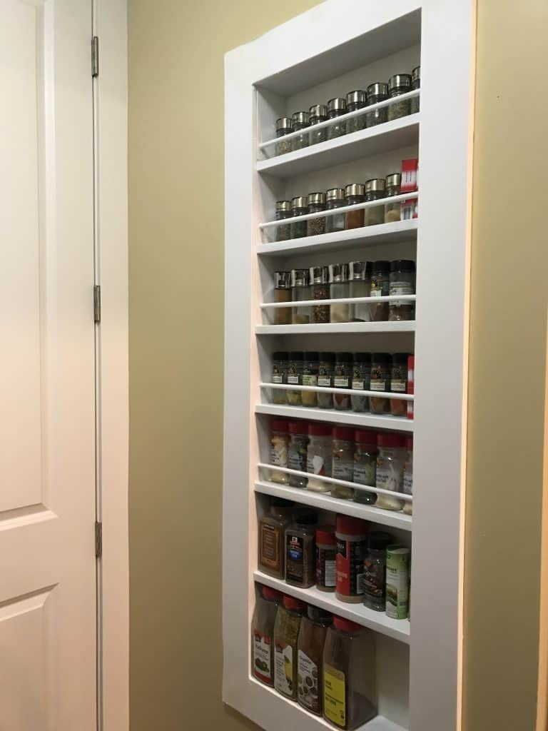 End result of DIY Built In Spice rack