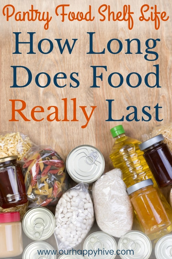 Pantry Food samples on wooden background, top view with Text - Pantry Food Shelf Life: How Long Does Food Really Last