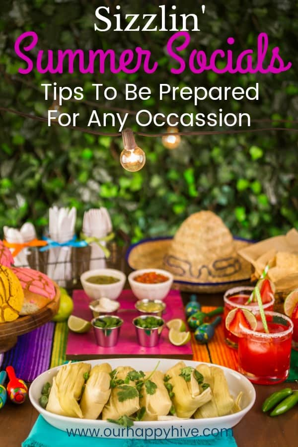 Table set with items for a Mexican Themed Dinner Party with Text - Sizzlin' Summer Socials Tips To Be Prepared For Any Occassion