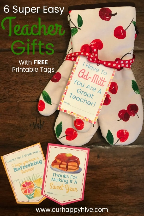 Oven Mitt with gift tag and Text - 6 Super Easy Teacher Gifts with free printable gift tags