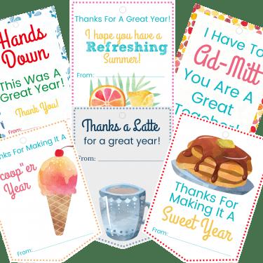 6 printable gift tags for teachers