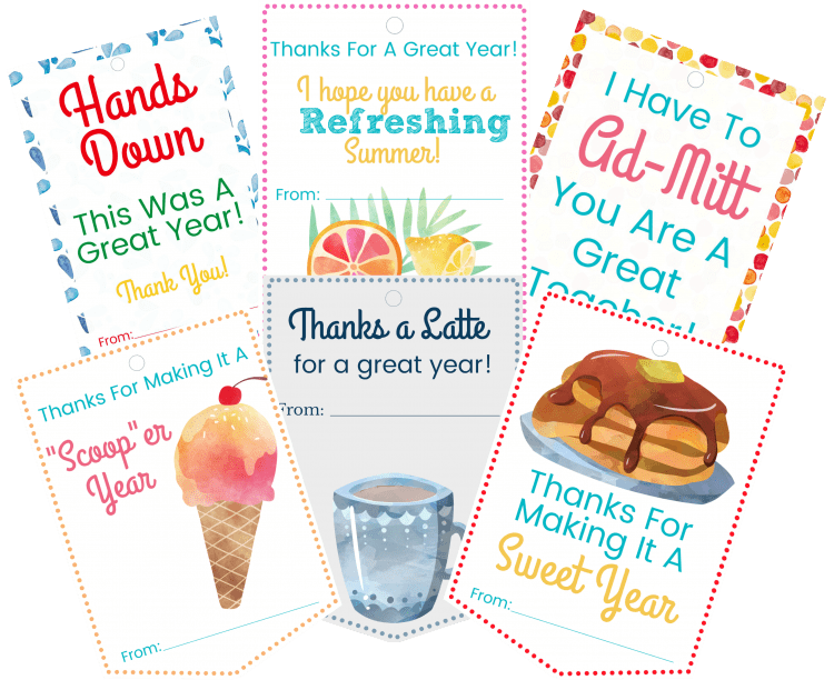 6 printable gift tags for teachers