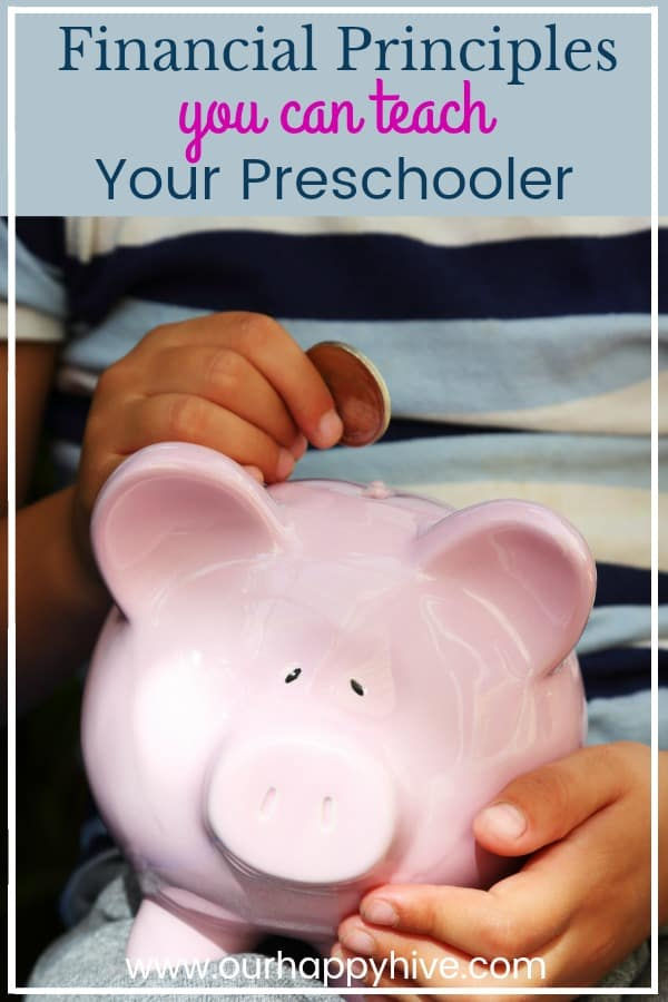 Piggy bank with a young hand placing a coin in it and text - financial principles you can teach your preschooler