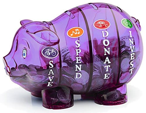 clear piggy bank with 4 compartments. one for save, one for spend, one for donate, and one for invest
