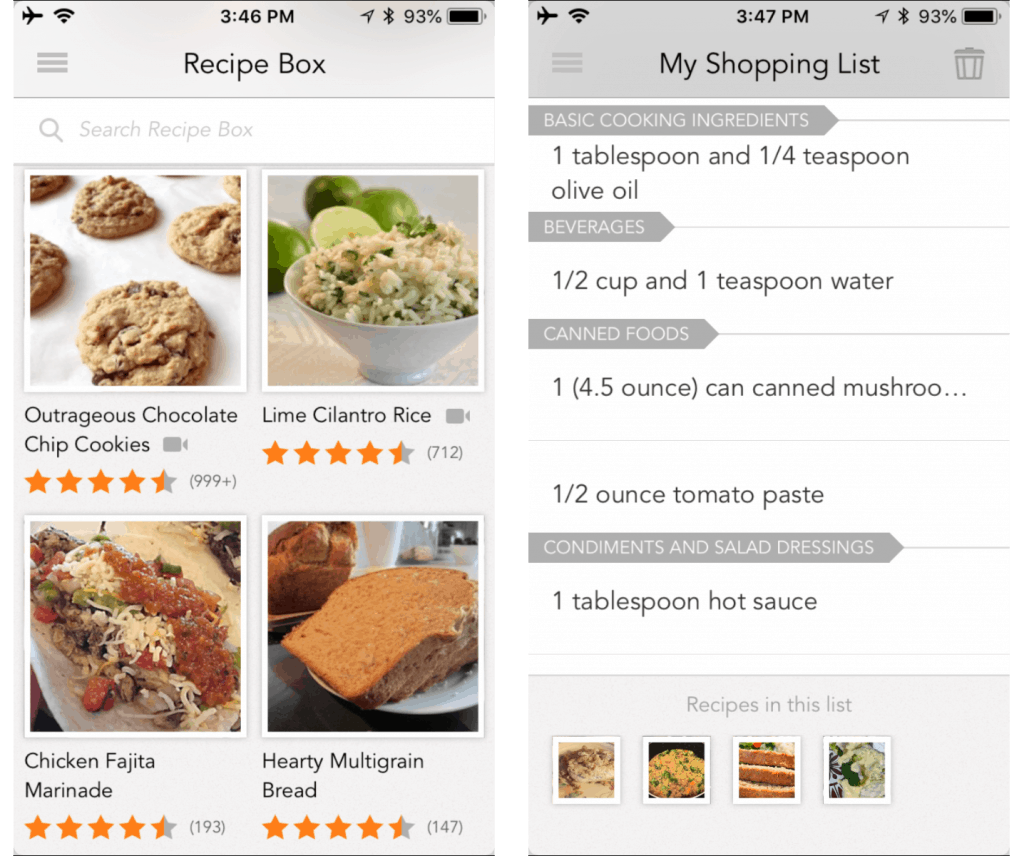 Screen shots of the All Recipes App