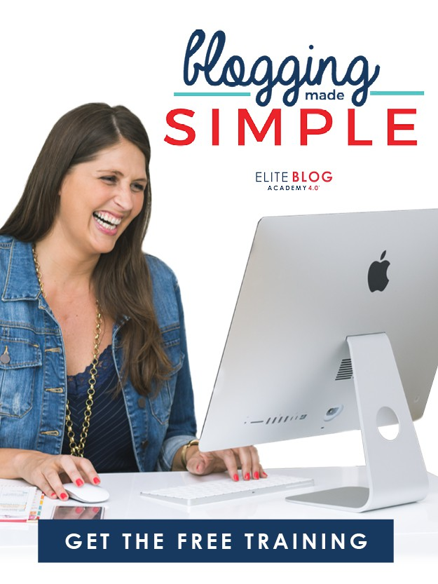happy woman looking at a computer with text blogging made simple get the free training
