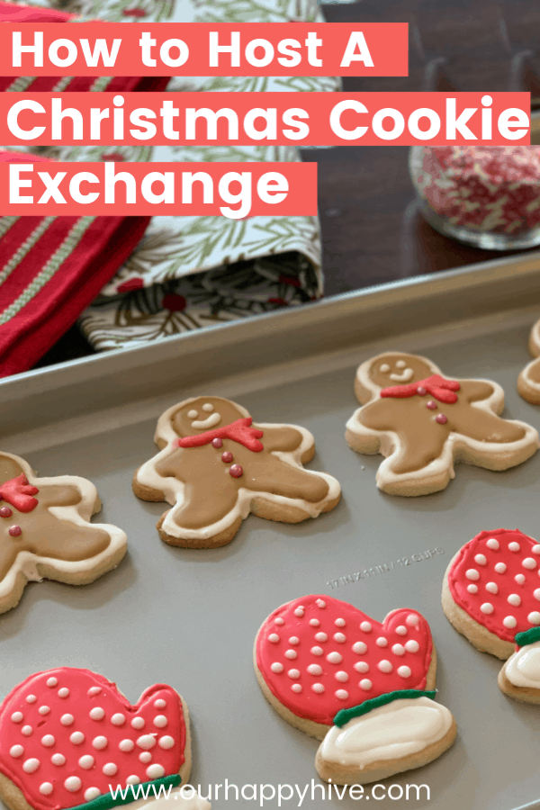 Gingerbread cookies and sugar cookies lined up with text How to Host a Christmas Cookie Exchange