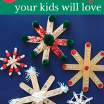 close up of snowflakes made with popsicle sticks with text 3 easy dollar store Christmas Crafts your kids will love