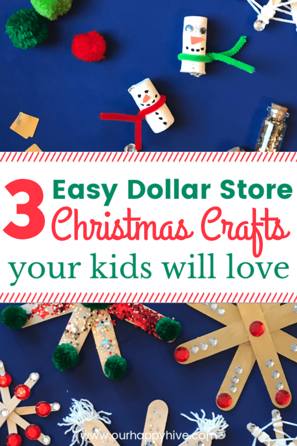 Cork snowman, popsiclestick snowflakes with text 3 easy dollar store christmas crafts your kids will love
