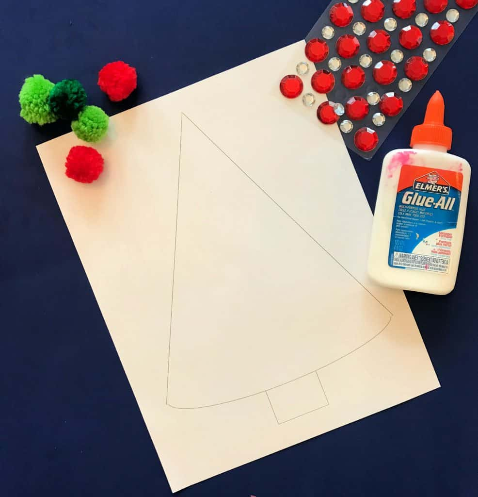 Supplies for Pom Pom Christmas Tree