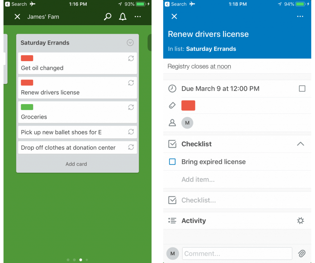 Screen Shot of the Trello App to do lists