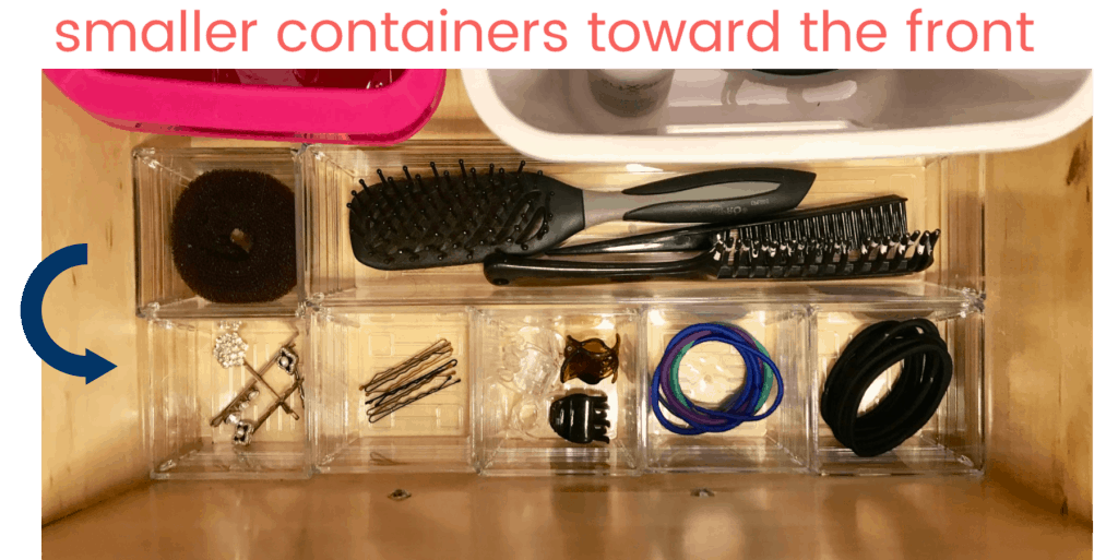 small containers with hair accessories with text smaller contaienrs toward the front