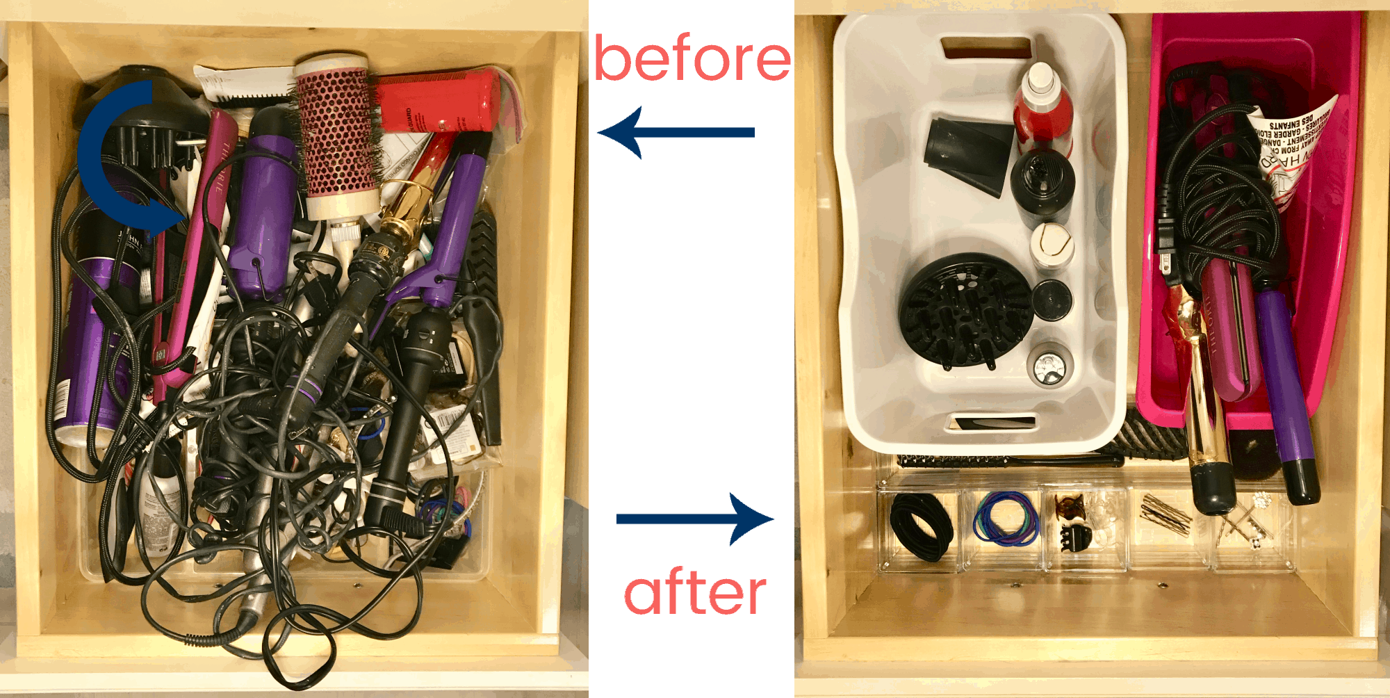 messy drawer on the left and organized drawer on the right