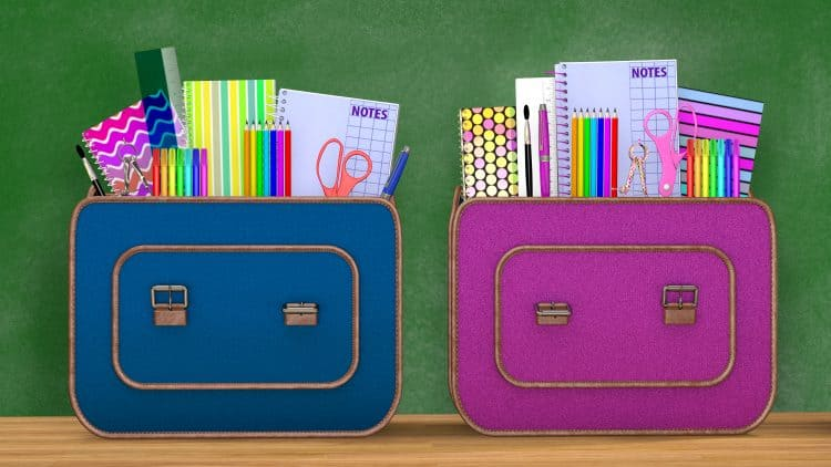 Back to school back packs filled with school supplies.