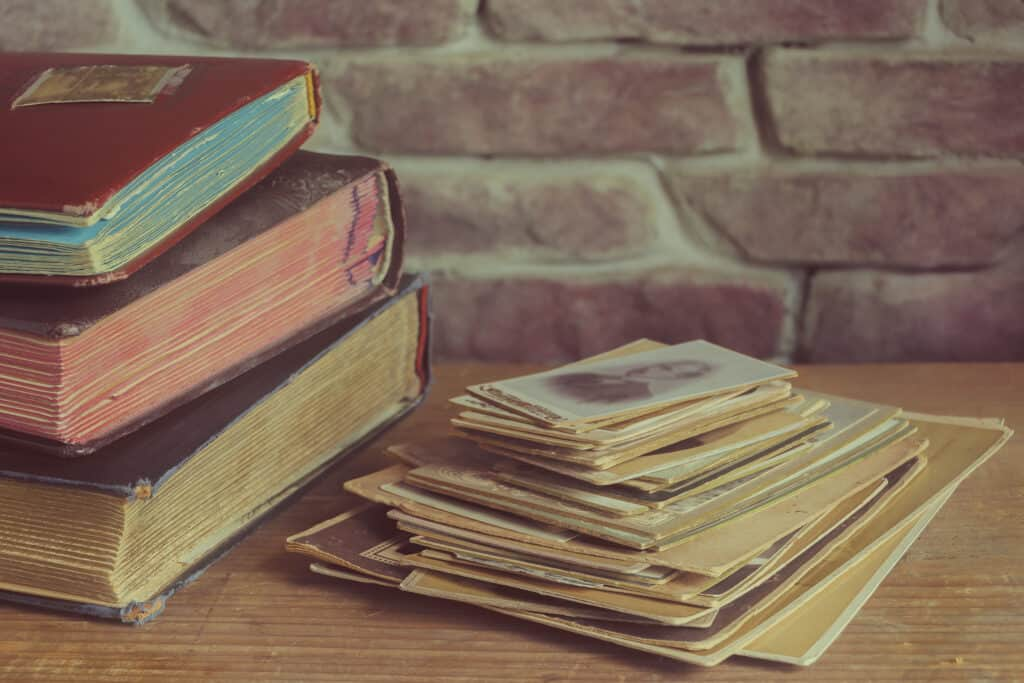 sentimental items including books and photos that need to be decluttered before downsizing.