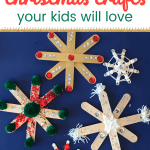 Close up of DIY snowflakes with text Dollar Store Crafts fyour kids will love