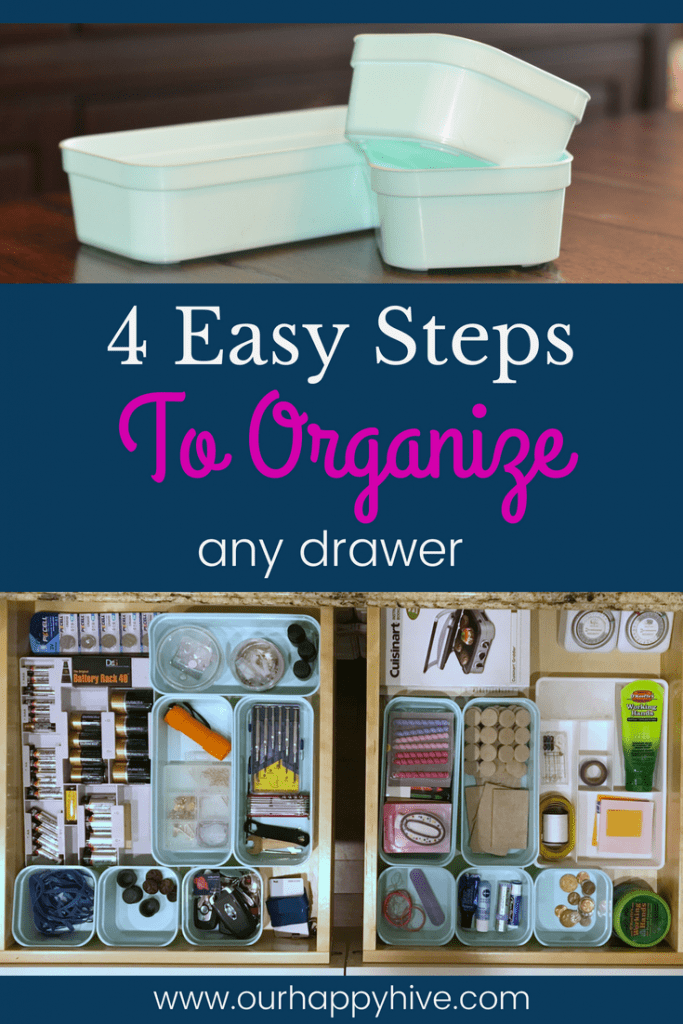 empty containers top picture, text 4 easy steps to organize any drawer, 2 organized drawers bottom pic