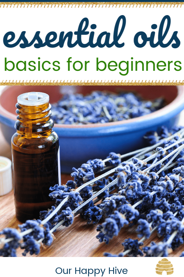 lavender with essential oils bottle and text essential oils basics for beginners