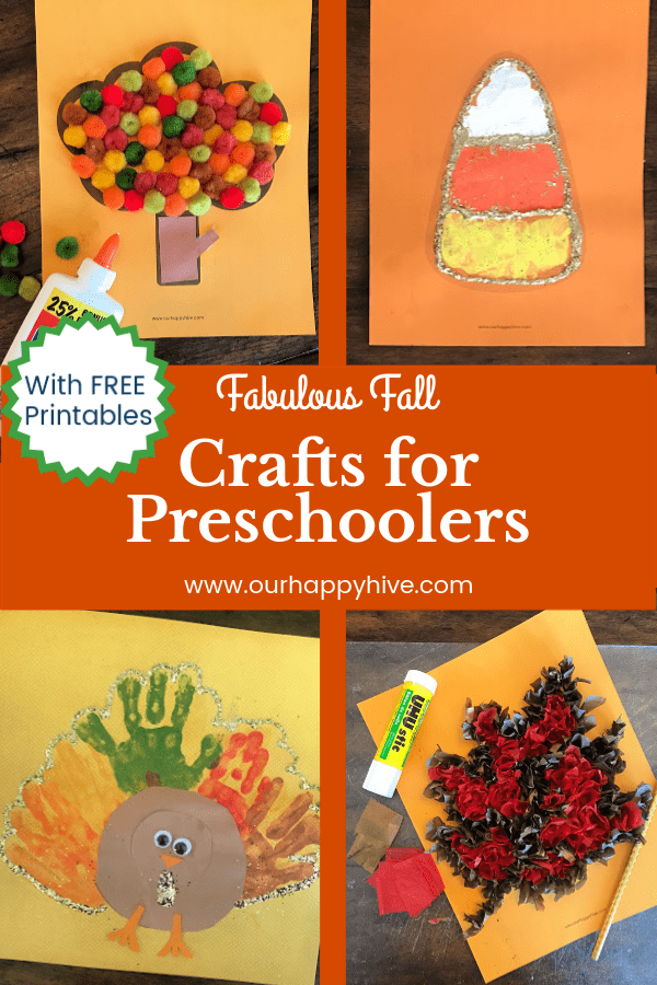 Four preschooler crafts including an Autumn Tree, Candy Corn, Turkey, and Leaf with text Fabulous Fall Crafts for Preschoolers.