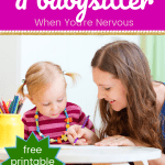 Babysitter with toddler with text getting comfortable with the thought of a babysitter for your kids