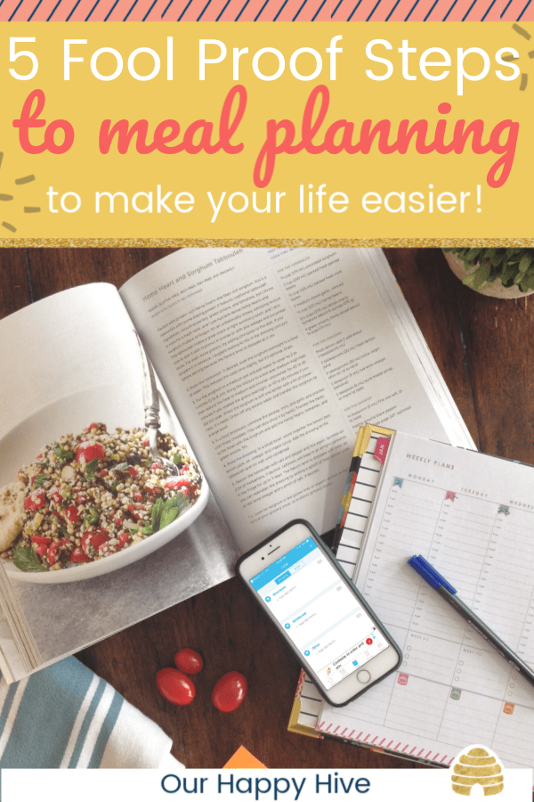 cookbook, calendar, and smartphone laying open on a table with text 4 fool proof steps to meal planning that will make your life easier