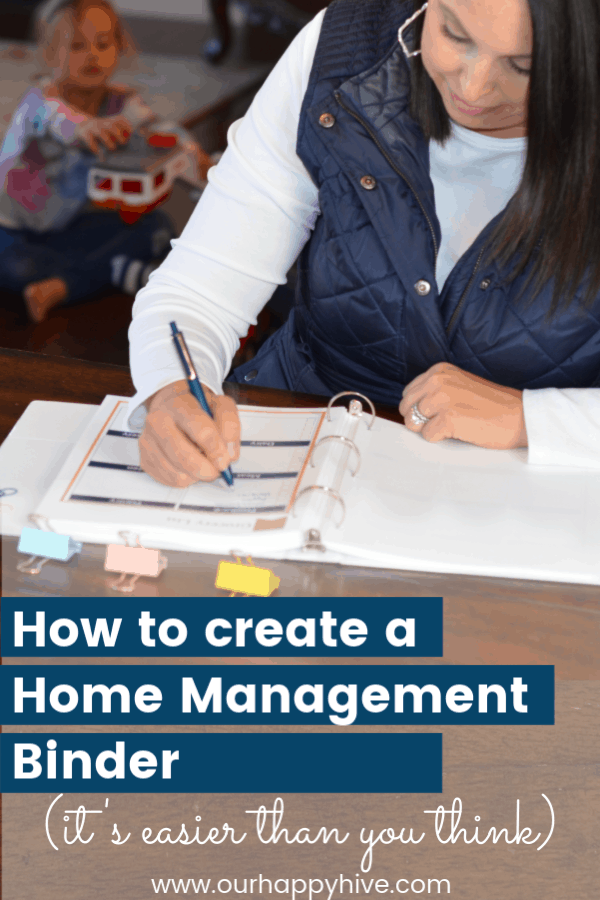 woman writing in her home managment binder with text how to create a home managment binder.