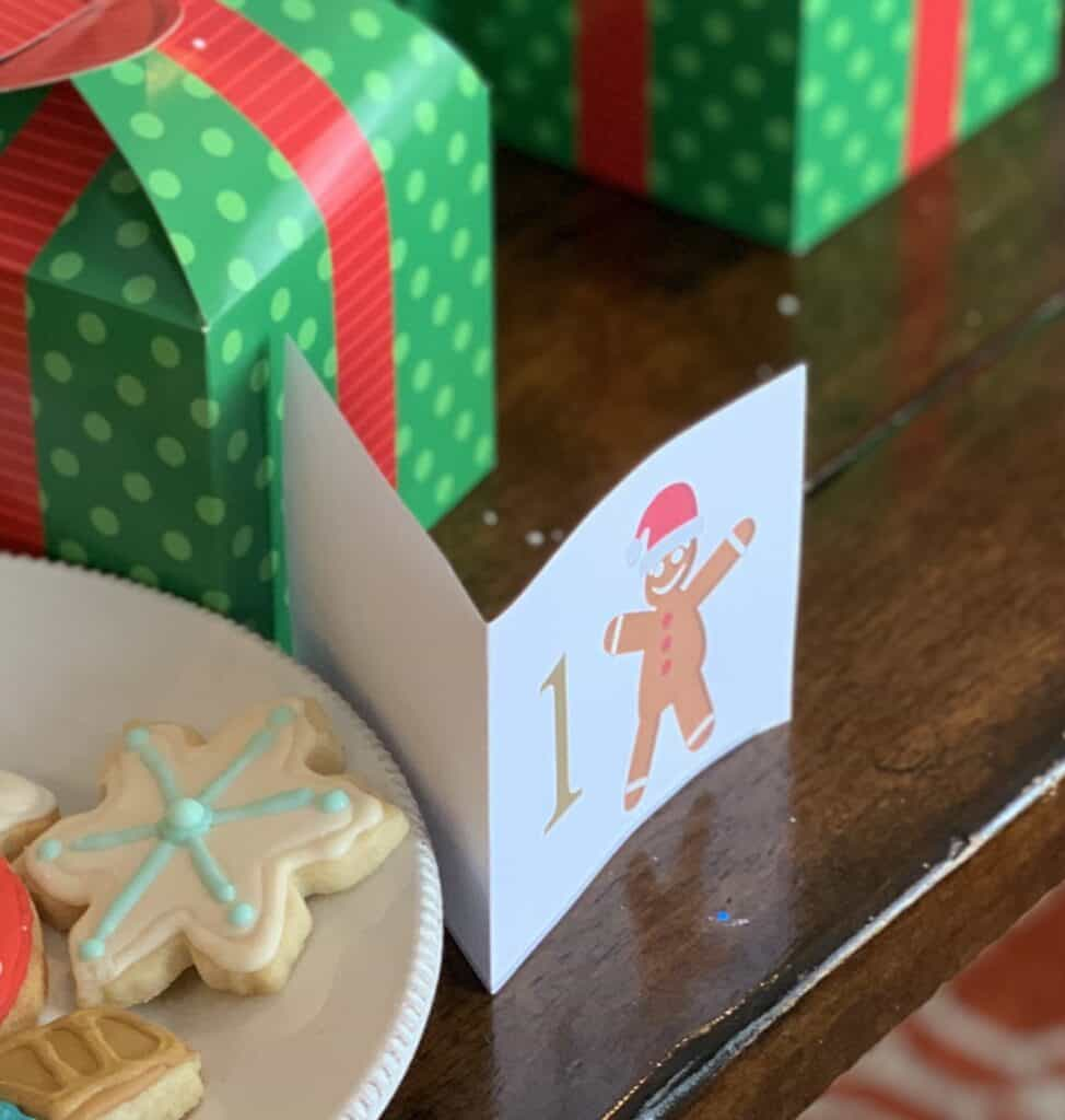 Close up of a number tag for the christmas cookie competition