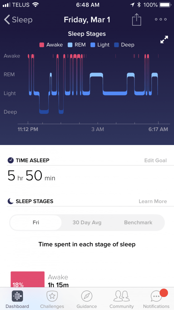Screen Shot of the Fitbit App Sleep Tracker