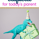 Toy dinosaur with party hat on taking a wrapped present and text Kids Birthday Party Etiquette