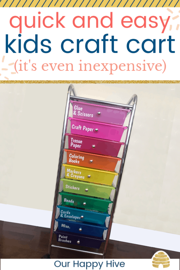 upclose picture of kids craft cart storage drawers with text quick and easy kids craft cart (it's even inexpensive)