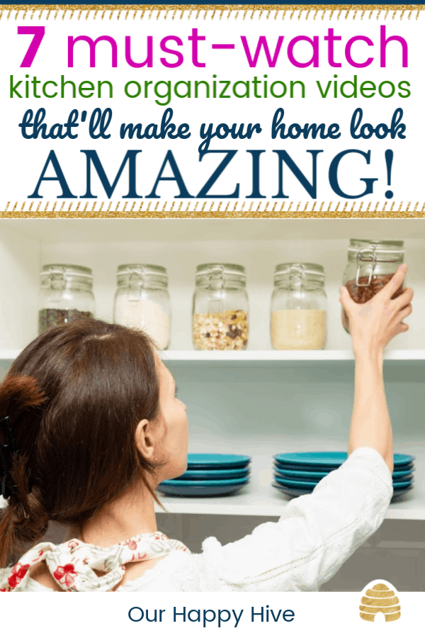 Women picking an item from the pantry with text 7 must watch kitchen organization videos that'll make your home look amazing