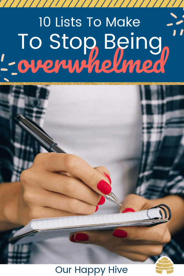 Woman in plaid shirt and a red manicure making a list in a notebook with text 10 lists to Make to Stop Being Overwhelmed