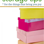 colorful shoe boxes with text Marie Kondo storage tips for the things that bring you joy