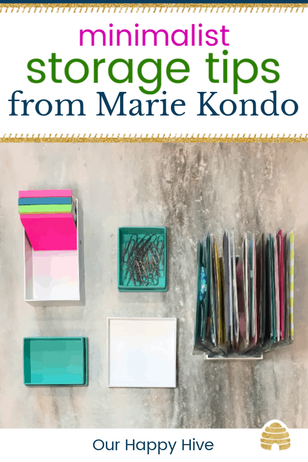 colorful boxes filled with desk supplies and organized standing vertically with the box with text minimalist storage tips from Marie Kondo
